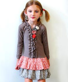 Take a look at this Sophie Catalou Bark Rossette Ruffle Dress - Toddler & Girls on zulily today!