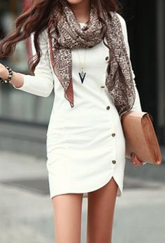 Love the cut of the dress, and the cute button details! The scarf keeps it casual and the necklace adds some visual interest.