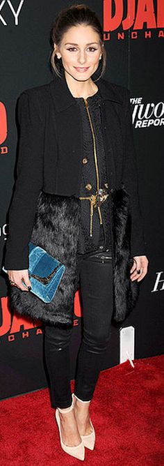 Who made  Olivia Palermo's black coat, black leather pants, and blue velvet clutch handbag that she wore in New York?