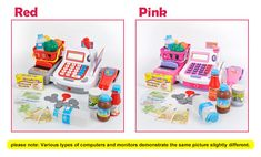 $51.82 - Nice Kids Supermarket Cash Register Electronic Toys with Foods Basket Money Children Learning Education Pretend Play Set Red Pink D50 - Buy it Now!