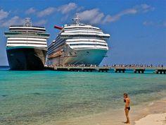Docked cruise ships at Grand Turk. Favorite beach! Can't wait til cruise Nov '13