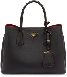 bb30ab514005 Prada Saffiano Cuir Double Small Tote Bag, Black - Red (Nero + Fuoco)