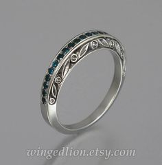 THE ENCHANTED sterling silver wedding band with by WingedLion