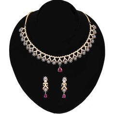 Gold and Silver Plated Antique Look High Quality Ruby Pink, Clear Crystal Necklace Bridal Jewelry Sets, Bridal Necklace, Wedding Jewelry, Wedding Wear, Party Wedding, Long Pearl Necklaces, Crystal Necklace, Gold Necklace, Dimond Necklace