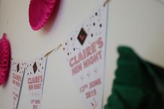 hen party decorations pink green and personalised bunting