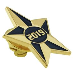 2019 Blue and Gold Star Pin. Blue enamel filled. Gold plated. $3.95