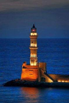Lighthouse in Chania, Crete, Greece