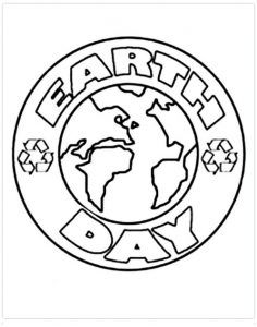 Earth Day Flowers Beautiful coloring picture for kids Earth Day