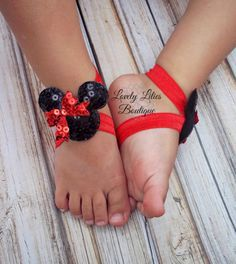 Baby Barefoot Sandals .. Minnie Mouse .. Toddler Sandals .. Newborn Sandals .. Baby Flower Sandals
