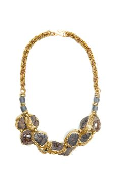 double-stranded gold-dipped chocolate druzy with smoky bottleglass andhammered brass on vintage chain