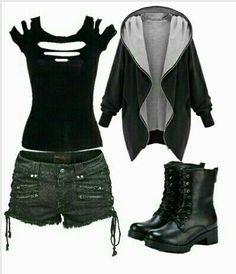 grunge outfits / fille stylé / moda donna - The Lucky Boy - Fashion Grunge Style Outfits, Gothic Outfits, Edgy Outfits, Mode Outfits, Grunge Outfits, Cute Punk Outfits, Short Hair Fashion Outfits, Cosplay Dress, Character Outfits