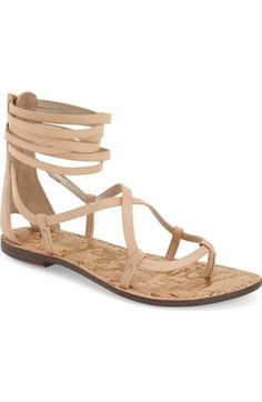 Free shipping and returns on Sam Edelman 'Ginette' Sandal (Women) at Nordstrom.com. Svelte, crisscrossing straps wrap the foot in a gladiator-inspired flat sandal topped with a cluster of thin leather straps and finished with a back zip closure for easy on and off.