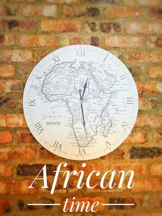 African time | Bedford Manor Boutique Hotel | brick wall | wall clock Brick Wall, Clock, African, Boutique, Home Decor, Watch, Decoration Home, Room Decor, Brick Walls