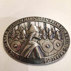 Gustav Gaudernack design for own workshop. Silver brooch with motif from viking saga. Silver Brooch, Saga, Vikings, Coins, Workshop, Models, Design, Role Models, Coining