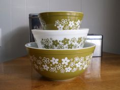 Set of Three Pyrex Nesting Bowls Spring by Truckstopcarnival, $33.00
