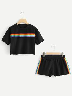 Striped tape crop tee with shortsfor women-romwe Cute Lazy Outfits, Sporty Outfits, Trendy Outfits, Cool Outfits, Girls Fashion Clothes, Teen Fashion Outfits, Outfits For Teens, Girl Fashion, Pride Outfit