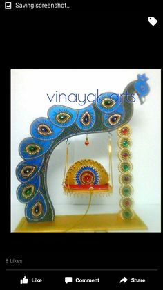Ygg Diwali Decorations, School Decorations, Festival Decorations, Diy Arts And Crafts, Hobbies And Crafts, Handmade Crafts, Ganapati Decoration, Decoration For Ganpati, Wooden Art