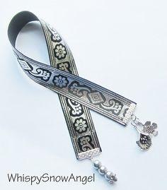 Silver Printed Flower Ribbon Bookmark by WhispySnowAngel on Etsy, $8.00