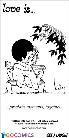 """Love is... precious moments together"" comic strip by Kim Grove Casali #loveis #kimcasali #1970s #seventies #love - Carefully selected by GORGONIA www.gorgonia.it"