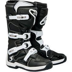 Alpinestars Tech 3 Men's Motocross Motorcycle Boots – Black/White / Size 6