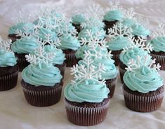 she likes this color blue with the chocolate cupcake