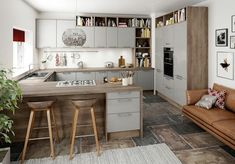 Modern G-shaped kitchen - here& a great cooking experience guaranteed # . Farmhouse Style Kitchen, Modern Farmhouse Kitchens, Rustic Kitchen, Cool Kitchens, Kitchen Decor, Kitchen Ideas, Farmhouse Layout, Best Kitchen Designs, Modern Kitchen Design