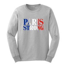 Mens France Flag Paris Storng Long Sleeve Adult T-Shirts Casual Men Tee #Affiliate