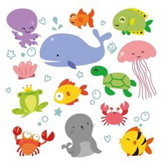 Kids Underwater Friends Multi Pack Iron On Transfer Sticker DIY Patch Costume Flair Iron-On Kids Thermal Transfer Sea Life Patches