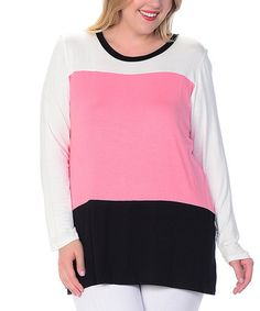 Another great find on #zulily! White & Coral Color Block Scoop Neck Top - Plus #zulilyfinds