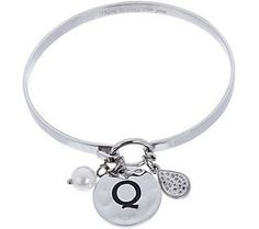 Stainless Steel Initial Charm Bangle with Gift Box
