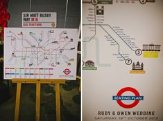 """London Tube"" wedding guest seating chart 