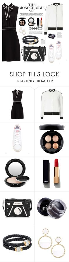 """The Monochrome Set"" by marvelialauraa on Polyvore featuring Boutique Moschino, Dorothy Perkins, adidas Originals, MAC Cosmetics, Chanel, Karl Lagerfeld, Terre Mère, Gemma Simone, Kate Spade and bomberjackets"