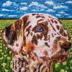Portrait chien Huile sur toile 50x50 cm - Peinture,  ©2017 par David Cadran - #Peinture aux doigts - #fingerpainter #fingerpainting #impressionism #oilpainting  #portraitart #animals #pet #dogart #dog