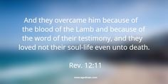 Rev. 12:11 And they overcame him because of the blood of the Lamb and because of the word of their testimony, and they loved not their soul-life even unto death. #Bible #Scripture verse, Recovery Version, quoted at www.agodman.com