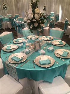 My wedding color tiffany blue, silver and black.Tiffany s theme bridal shower – Artofit Tiffany Blue Party, Tiffany Blue Weddings, Tiffany Theme, Tiffany Wedding, Quinceanera Decorations, Wedding Reception Decorations, Wedding Ideas, Wedding Poses, Wedding Pictures
