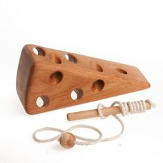"""Wooden lacing toy """"For cheese-lovers"""" Montessori Learning toy Fine Motor Skills Educational Wooden Toy Handmade Wood Toys for Kids Christmas Toddler Birthday Gifts, Toddler Gifts, Toddler Toys, Wood Kids Toys, Wood Toys, Children Toys, Handmade Wooden Toys, Wooden Diy, Montessori Toys"""