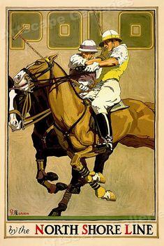 Items similar to USA - North Shore Line - Polo - (artist: Oscar Rabe Hanson c. Artwork (Art Prints, Wood & Metal Signs, Canvas, Tote Bag, Towel) on Etsy Vintage Advertising Posters, Vintage Travel Posters, Horse Posters, Maps Posters, Chicago Poster, Polo Horse, Horse Illustration, Magazine Illustration, Retro Poster