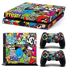 PS4 Console and DualShock 4 Controller Skin Set - Collage Brand Graffiti Design - PlayStation 4 Vinyl