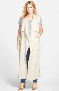 Sejour Open Front Sleeveless Trench Coat (Plus Size)