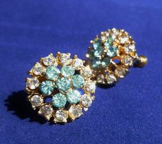 Vintage Aqua and Crystal Rhinestone Screw by TwoCousinsCollection