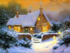 Thomas Kinkade Paintings, i just love this painting from thomas.it's so cozy and succluded!!!