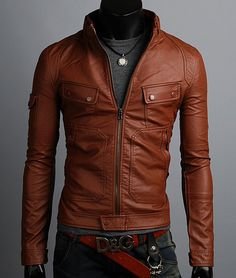 Handmade brown biker Leather Jacket men leather by Besteshop, $149.99
