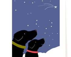 Holiday card black or yellow labs with simple gift by LizzyClara
