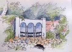 Sketch of Canal Gardens, Roundhay Park, Leeds ~ sketch ~ John Edwards
