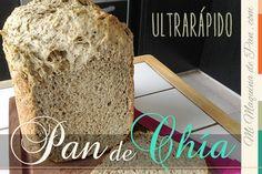 Pan de Chía: Agregar 3/4 t agua hirviendo, 1.5 t agua, 2 cuch aceite, 1 cuchi sal, 2 cuch chancaca, 1/2 t semillas de chia, 4 cuch leche polvo, 4 t harina, 1/2 t harina de chia, 20 grs levadura polvo. Programa ULTRA RAPIDO. X