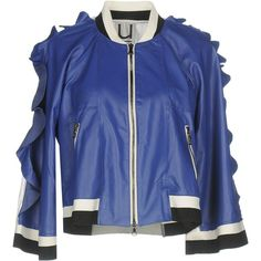 Udiaviu Jacket (€355) ❤ liked on Polyvore featuring outerwear, jackets, blue, zipper jacket, leather bomber jackets, multi coloured leather jacket, metallic jacket and leather bomber jacket
