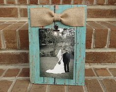 Turquoise Barnwood Clip Picture Frame with Burlap Bow