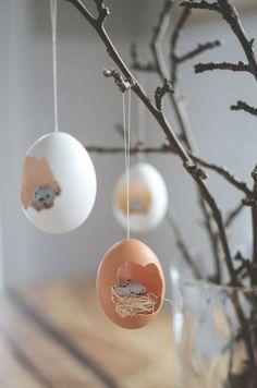 Osternester als Schmuck für die Zweige aus echten Eiern - Anleitung auf Schwedisch mit vielen Bildern: