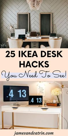 Ikea desk hacks that help you create your dream home office desk for a fraction of the cost. #ikeadeskhacks #ikeahack Desk Hacks, Ikea Hacks, Kitchen Desks, Ikea Kitchen, Ceo Office, Office Desk, Ikea Furniture Hacks, Furniture Ideas, Cheap Ikea Desk