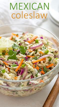 Using a prepared coleslaw mix slashes time in this easy and refreshing Mexican Coleslaw (no mayo! Serve it as a side dish or as a topping on your favorite tacos! Taco Side Dishes, Mexican Side Dishes, Side Dishes With Tacos, Healthy Mexican Sides, Mexican Slaw, Mexican Coleslaw Recipe No Mayo, Mexican Vegetables, Veggies, Slaw For Tacos